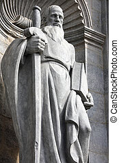 Saint Paul the Apostle - statue in facade of Girona...