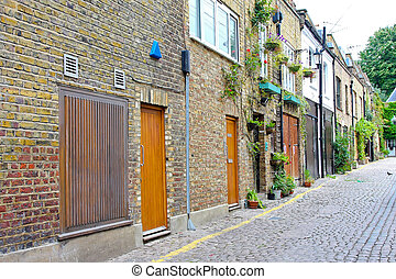 Small street - Old houses in small cobbled street in London...