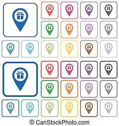 Gift shop GPS map location outlined flat color icons