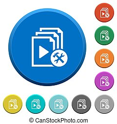 Playlist tools beveled buttons - Playlist tools round color...