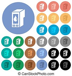 Ink cartridge round flat multi colored icons - Ink cartridge...