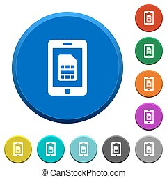 Mobile simcard beveled buttons - Mobile simcard round color...