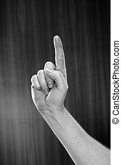 One thing - Black and white image of man pointing with his...