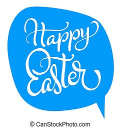 vector happy easter text on blue background. Calligraphy lettering Vector illustration EPS10