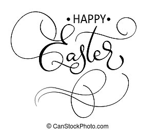 vector happy easter text on white background. Calligraphy lettering Vector illustration EPS10
