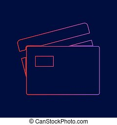 Credit Card sign. Vector. Line icon with gradient from red to violet colors on dark blue background.