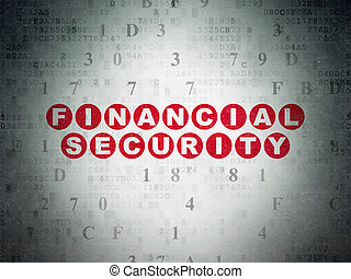 Protection concept: Financial Security on Digital Data Paper background