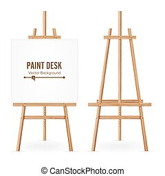 Paint Desk Vector. Wooden Easel Template With White Paper....