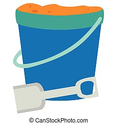 Isolated sand bucket and a shovel, Vector illustration