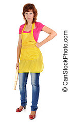 The tired housewife - Woman Wearing Apron. Isolated on White