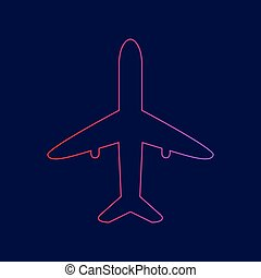 Airplane sign illustration. Vector. Line icon with gradient from red to violet colors on dark blue background.