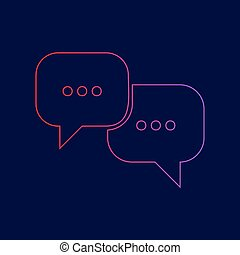 Speech bubbles sign. Vector. Line icon with gradient from...