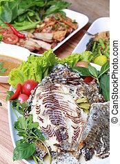 tilapia, pez, alimentos, asado, tailandés, estilo