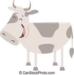 cow farm animal character - Cartoon Illustration of Funny...