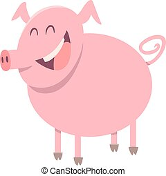 pig farm animal character - Cartoon Illustration of Pig Farm...
