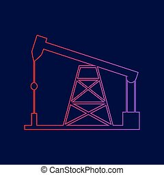 Oil drilling rig sign. Vector. Line icon with gradient from...