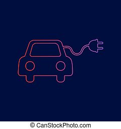 Eco electric car sign. Vector. Line icon with gradient from...