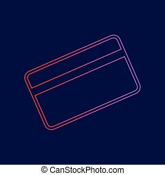 Credit card symbol for download. Vector. Line icon with gradient from red to violet colors on dark blue background.