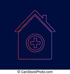 Hospital sign illustration. Vector. Line icon with gradient from red to violet colors on dark blue background.