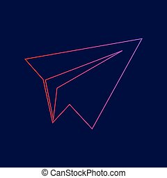 Paper airplane sign. Vector. Line icon with gradient from red to violet colors on dark blue background.
