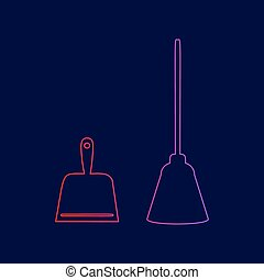 Dustpan vector sign. Scoop for cleaning garbage housework dustpan equipment. Vector. Line icon with gradient from red to violet colors on dark blue background.