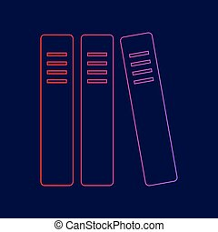 Row of binders, office folders icon. Vector. Line icon with...