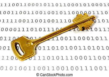 Encryption key - Golden key on a sheet with binary encrypted...