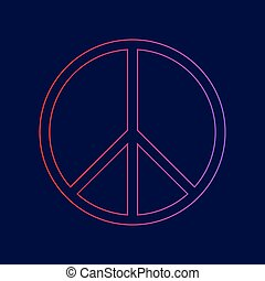 Peace sign illustration. Vector. Line icon with gradient...