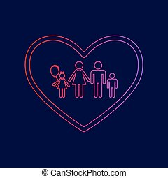 Family sign illustration in heart shape. Vector. Line icon...