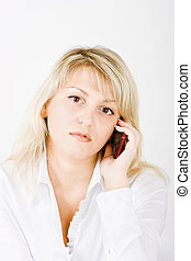 blonde with mobile phones on a white background