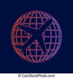 Globe and plane travel sign. Vector. Line icon with gradient from red to violet colors on dark blue background.