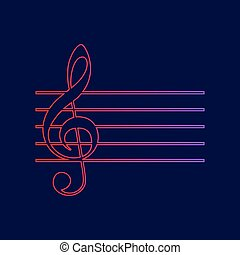 Music violin clef sign. G-clef. Vector. Line icon with gradient from red to violet colors on dark blue background.