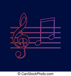 Music violin clef sign. G-clef and notes G, H. Vector. Line icon with gradient from red to violet colors on dark blue background.