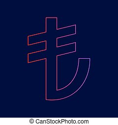 Turkiey Lira sign. Vector. Line icon with gradient from red to violet colors on dark blue background.