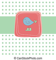 Romantic card with bird on red.
