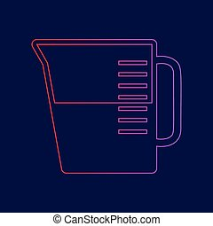 Beaker sign. Vector. Line icon with gradient from red to violet colors on dark blue background.
