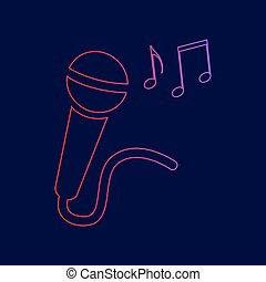 Microphone sign with music notes. Vector. Line icon with gradient from red to violet colors on dark blue background.