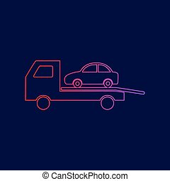 Tow car evacuation sign. Vector. Line icon with gradient from red to violet colors on dark blue background.