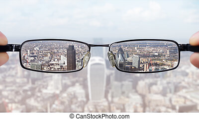 Clear business vision concept businessman looking at the...