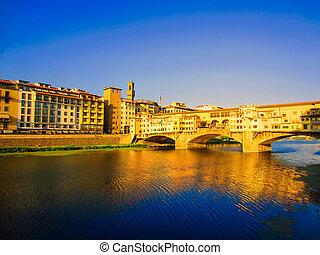 Ponte Vecchio , Florence - River Arno and Ponte Vecchio in...