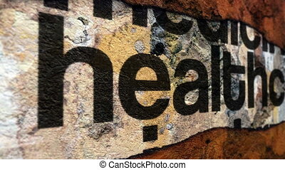 Healthcare text on torn paper