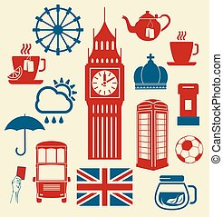 Symbols of Great Britain - Vector illustration of the...