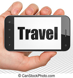 Travel concept: Hand Holding Smartphone with Travel on...