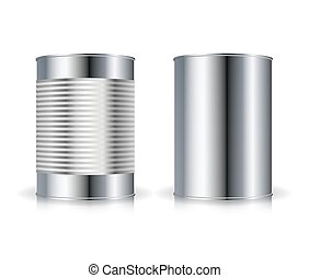 Metallic Cans Vector. Set Metal Tin Can Set Vector...