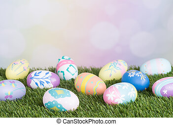 Colorful Easter Eggs on Grass - Easter eggs on grass on a...
