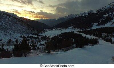 Areal view at a ski resort.