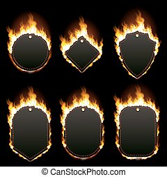 Set of six frames surrounded with flame - Set of six frames...