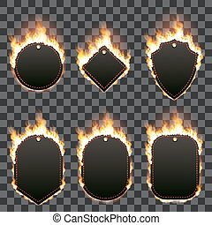 Set of six frames surrounded with flame - Realistic...