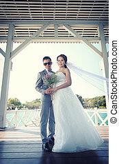 Pre Wedding photography thai couples on a wooden Atsadang...