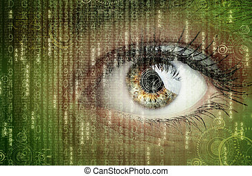 Digital data and eye - Womans eye with futuristic digital...